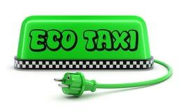 Concept de taxi d'ECO avec le signe vert de toit de voiture de taxi Images stock