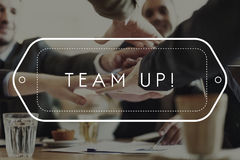 Concept de Team Up Support Strategy United Alliance Photographie stock