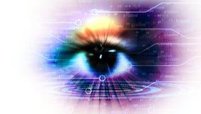 Concept de technologie avec la vision d'oeil illustration stock