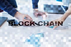 Concept de technologie de Blockchain Transfert d'argent d'Internet Cryptocurrency photos libres de droits