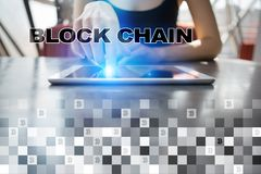 Concept de technologie de Blockchain Transfert d'argent d'Internet Cryptocurrency image stock
