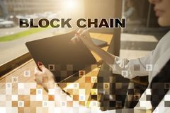 Concept de technologie de Blockchain Transfert d'argent d'Internet Cryptocurrency photographie stock libre de droits