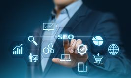 Concept de technologie d'affaires d'Internet de site Web du trafic de rang de SEO Search Engine Optimization Marketing images stock