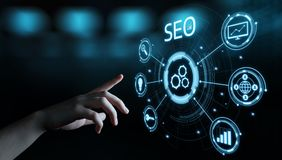 Concept de technologie d'affaires d'Internet de site Web du trafic de rang de SEO Search Engine Optimization Marketing photos stock