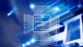 Concept de technologie d'affaires de système de sécurité Inscription sur le fond de la salle de processeur et de serveur