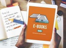 Concept de technologie d'innovation de littérature de media d'E-lecteur d'E-livres photos stock