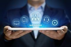 Concept de technologie d'Internet d'affaires de formation d'apprentissage en ligne de Webinar Photos libres de droits