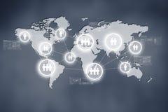 Concept de technologie d'Internet des affaires globales ou du réseau social photographie stock libre de droits