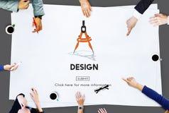 Concept de technologie de complexes manufacturiers de boussole de conception images libres de droits