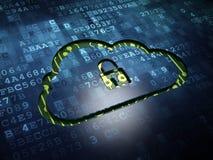 Concept de technologie de nuage : Nuage avec le cadenas dessus Photo libre de droits