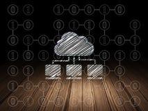 Concept de technologie de nuage : Réseau de nuage dans le grunge Image libre de droits