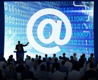 Concept de technologie de signe de domaine de contact de connexion d'adresse Photos stock