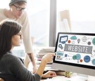 Concept de technologie de télécommunication mondiale de page d'accueil de site Web images stock