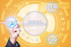 Concept de technologie de vente de Digital Internet En ligne Seo SMM advertising Image libre de droits