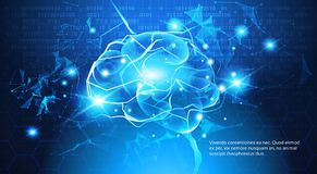 Concept de technologie, Digital Brain With Electric Circuit Photos stock