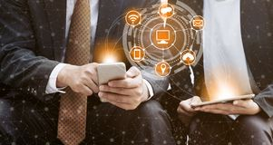 Concept de technologie de télécommunications de téléphone portable images stock