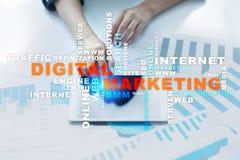 Concept de technologie de vente de Digital Internet En ligne Optimisation de moteur de recherche Seo SMM advertising Nuage de mot Illustration de Vecteur
