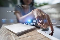 Concept de technologie de vente de Digital Internet En ligne Seo SMM advertising Images libres de droits