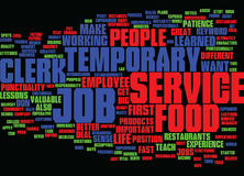 Concept de Temporary Job Text Background Word Cloud de commis de service de traiteur Photos libres de droits