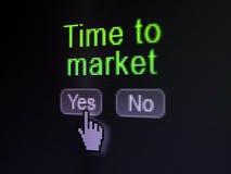Concept de temps : Délai d'arrivée au marché sur l'écran de calculateur numérique Photographie stock