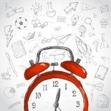 concept de temps d'éducation L'éducation rouge d'alarme gribouille le fond illustration libre de droits
