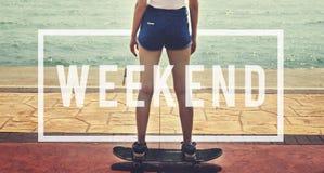 Concept de temps gratuit de bonheur de temps gratuit de relaxation de week-end Images stock