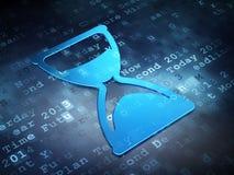 Concept de temps : Sablier bleu sur le fond numérique Images stock