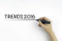 Concept 2016 de tendances sur un fond blanc Photographie stock