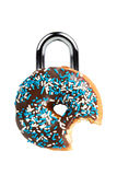 Concept de tentation/régime avec le beignet en tant que cadenas Photo stock