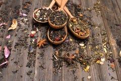 Concept de thé Différents genres de thé dans des cuillères en bois sur le weathere Photographie stock