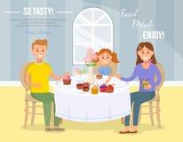 Concept de thé de maison familiale Illustration plate de vecteur illustration de vecteur