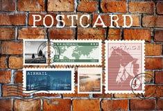 Concept de timbre de lettre de carte postale de courrier de par avion photo stock