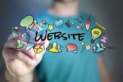 Concept de titre de site Web de dessin de l'homme et de voler d'icônes de multimédia Photos stock