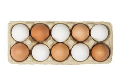 Concept de tolérance Oeufs de Brown parmi les oeufs blancs dans la boîte d'isolement sur le fond blanc Vue supérieure Photos stock