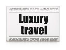 Concept de tourisme : voyage de luxe de titre de journal Image stock