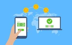 Concept de transfert d'argent Envoi d'argent Vecteur illustration stock