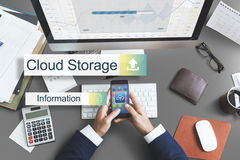 Concept de transfert de sauvegarde des données de stockage de nuage photo stock