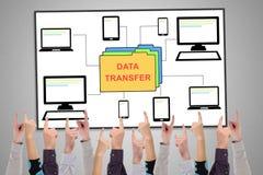Concept de transfert des données sur un tableau blanc photo stock