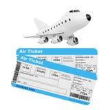 Concept de transports aériens Bande dessinée Toy Jet Airplane avec la ligne aérienne Boardi Images libres de droits