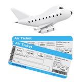 Concept de transports aériens Bande dessinée Toy Jet Airplane avec la ligne aérienne Boardi Photographie stock