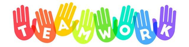 Concept de travail d'équipe avec les copies colorées de main illustration de vecteur