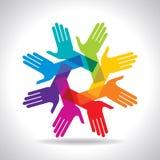 Concept de travail d'équipe, avec les mains colorées Image libre de droits