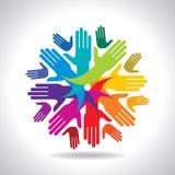 Concept de travail d'équipe avec les mains colorées Image stock