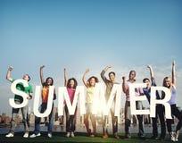 Concept de travail d'équipe d'adolescent de liberté de soleil de Sun d'été Photos stock