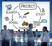 Concept de travail d'équipe de mission d'effort de plan d'échange d'idées de projet images stock
