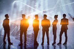 Concept de travail d'équipe, de finances et d'économie photos stock