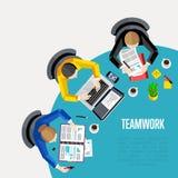Concept de travail d'équipe Fond d'espace de travail de vue supérieure Image libre de droits