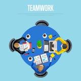 Concept de travail d'équipe Fond d'espace de travail de vue supérieure Images stock