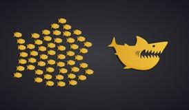 Concept de travail d'équipe - formation d'essaim de poissons illustration stock