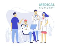 Concept de travail d'équipe de médecine avec des médecins dans le processus de consultation illustration de vecteur